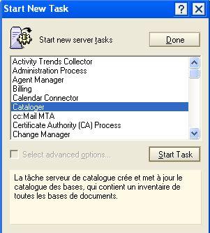 ServerTasksAt catalog.nsf NSF Lotus Domino notes task console tâche cataloger catalog catalogue bases hatmos server design serveur système admin