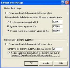 Limites de stockage Exchange