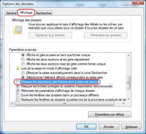Comment Voir / Afficher les extensions des fichiers dans Windows Vista