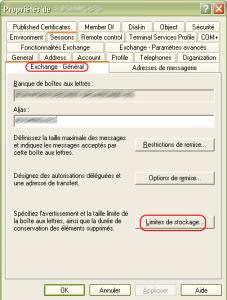 Fenêtre de propriété Active Directory - Exchange