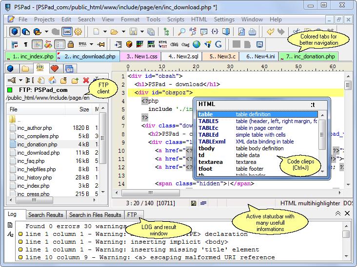 PSPad avec la fenêtre de projet, liste de mots-clés, modèles, fenêtre de LOG...