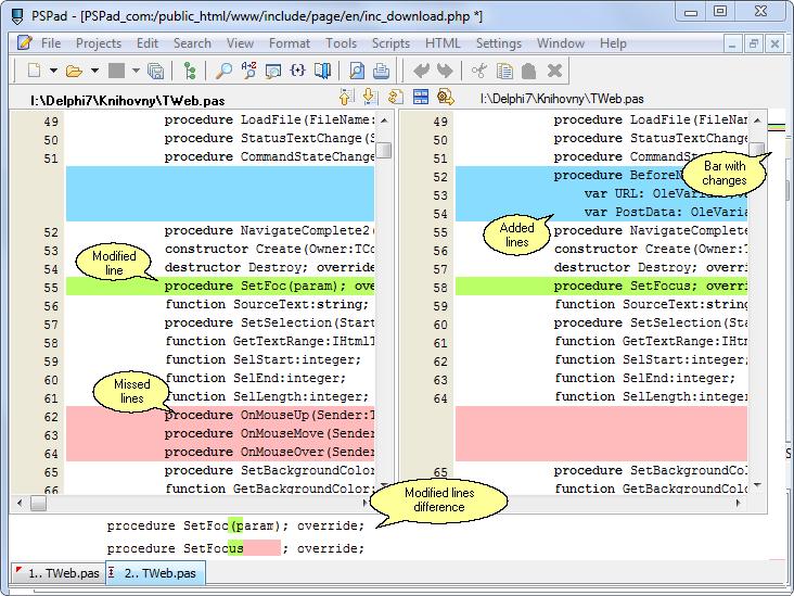 Comparaison de texte avec coloration syntaxique