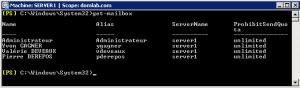 Le resultat d'un Get-Mailbox afin de lister les mailbox du serveur Exchange