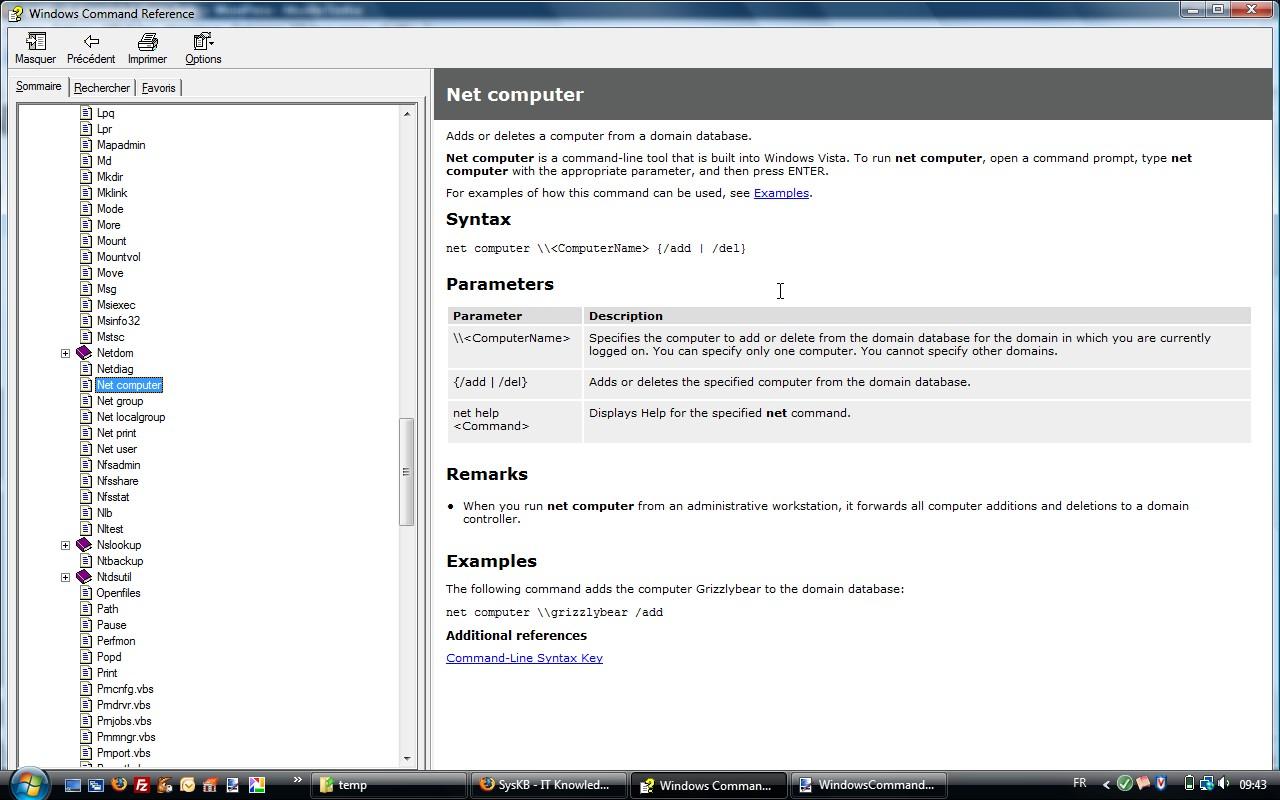 Windows Command Référence