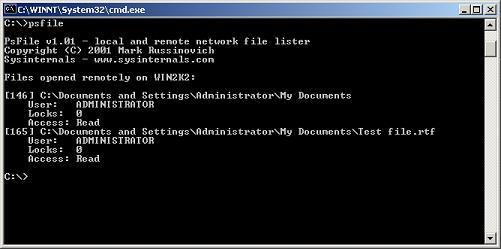 PsFile - Afficher les fichiers ouverts distants sous Windows