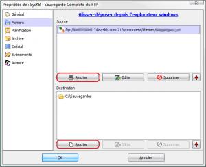 paramètrage de la sauvegarde avec cobian backup - fichier