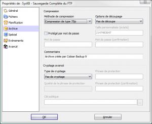 paramètrage de la sauvegarde avec cobian backup - archive