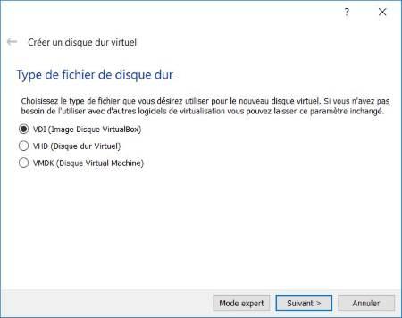 Type de disque dur virtuel