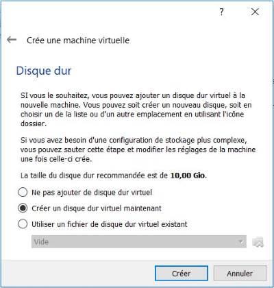 Taille du disque virtuel dans VirtualBox