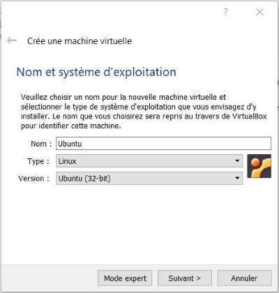 Nommer la VM dans VirtualBox