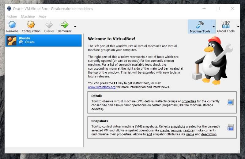 VM VirtualBox éteinte