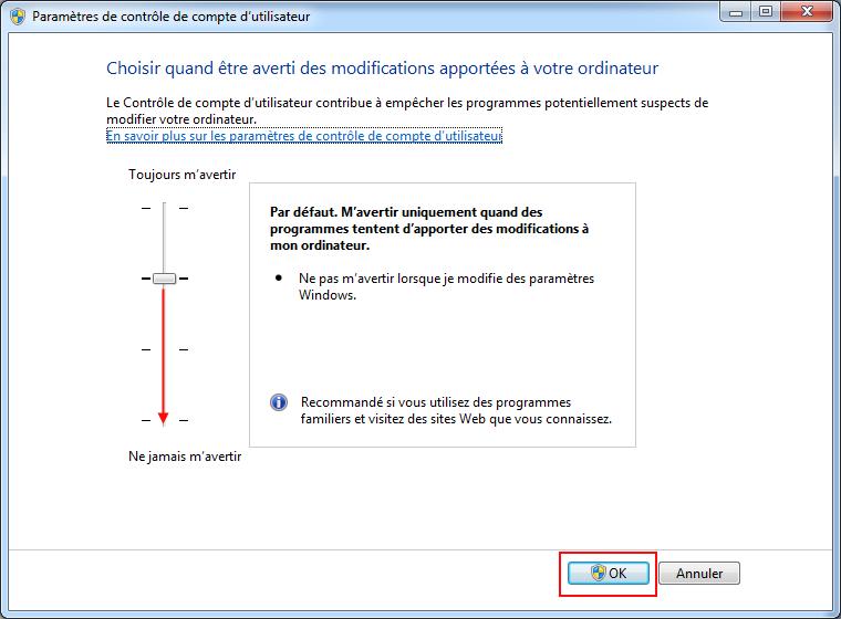 Désactiver UAC sur Windows