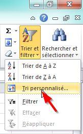 Trier par couleur dans une feuille Excel 2010