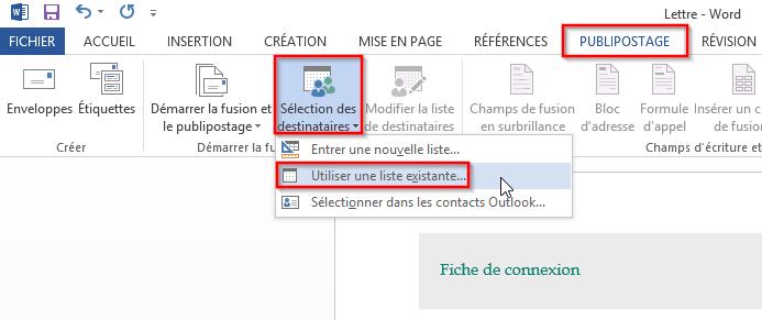 Connexion entre Excel et Word