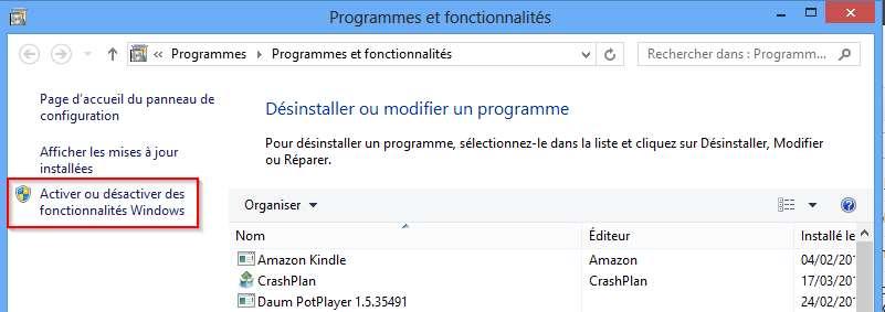 Le menu Programmes et fonctionnalités dans Windows 8
