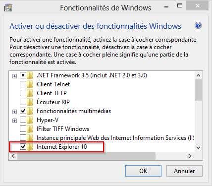 Le Menu Fonctionnalités de Windows 8