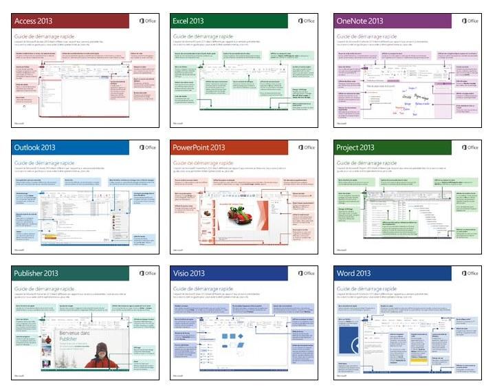 Guides de démarrage rapide d'Office 2013