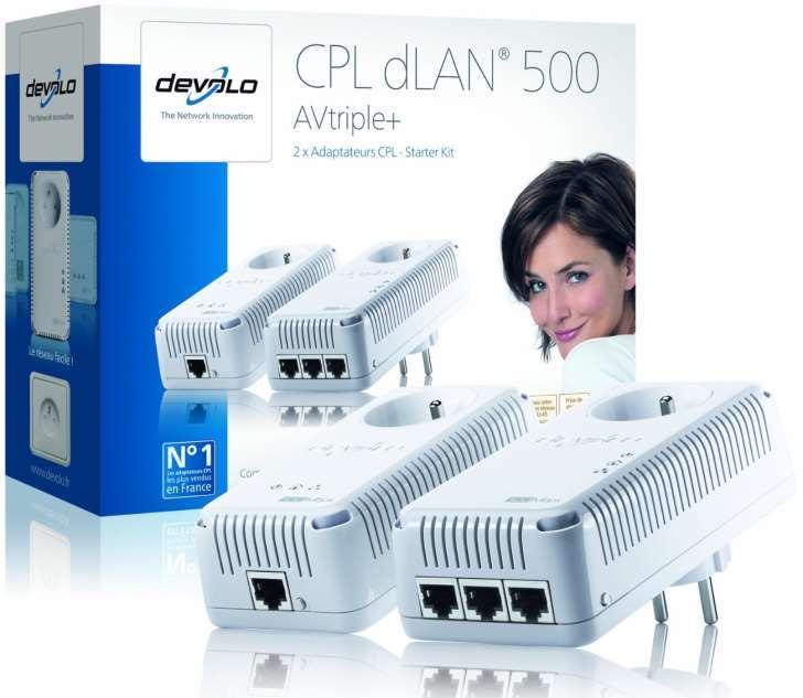 Adaptateur CPL dLAN 500 Mbps AV triple+ Starter Kit