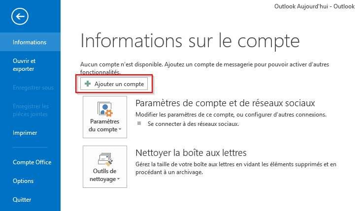 Ajouter son compte Gmail dans Outlook 2013