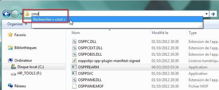 Lancer une invite de commande depuis la barre Windows