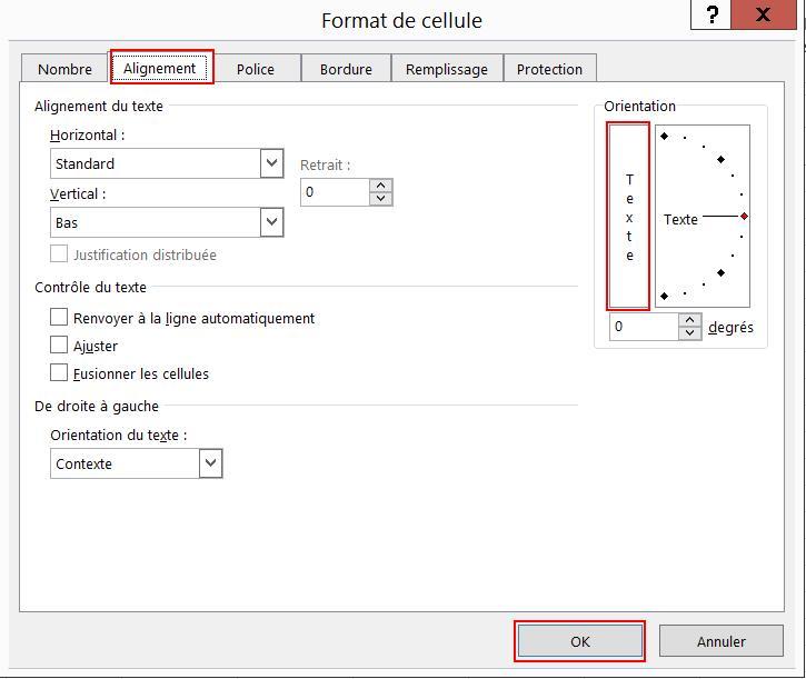 Ecrire du texte vertical dans une cellule Excel 2013