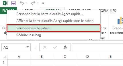 Personnaliser le ruban Excel