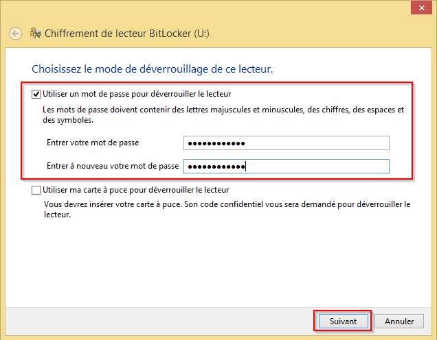 Définir un mot de passe sur BitLocker