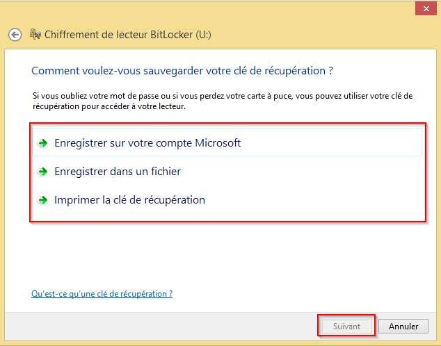 Clé de récupération BitLocker
