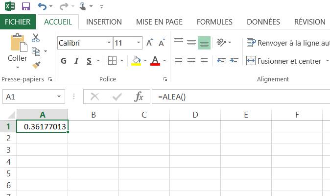 Comment générer un nombre aléatoire dans une cellule Excel