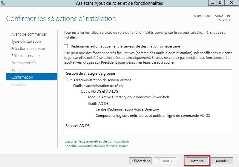 démarrer l'installation des composants Active Directory