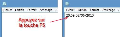 Insérer la date et l'heure dans un fichier Notepad automatiquement
