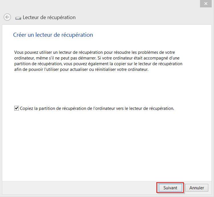 Créer un disque de récupération pour Windows