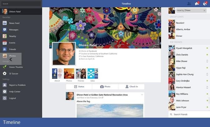 L'application Facebook est disponible sur Windows 8.1