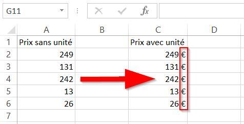 Comment afficher un prix avec l'unité € dans la même cellule avec Excel