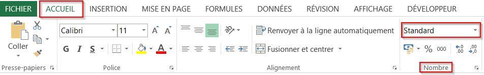 La bandeau Excel