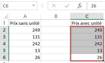 Sélectionner des cellules Excel