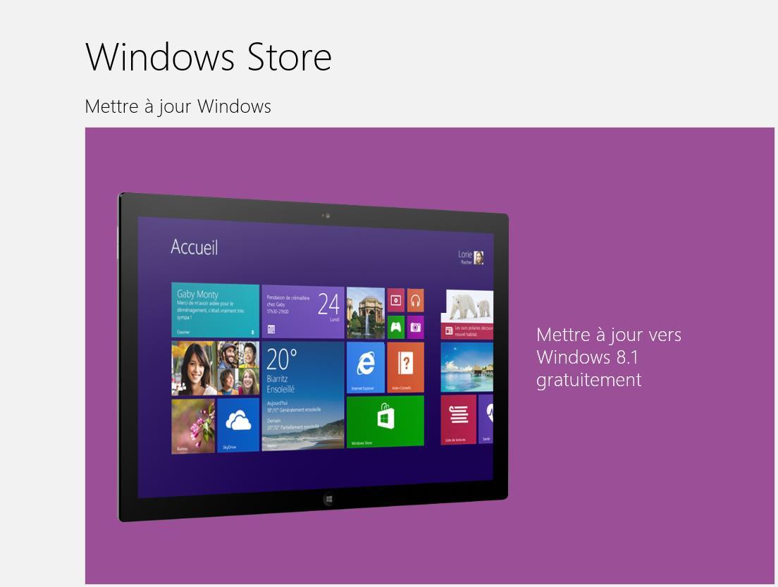Windows 8.1 est disponible! Mettez à jour votre Windows 8 gratuitement.