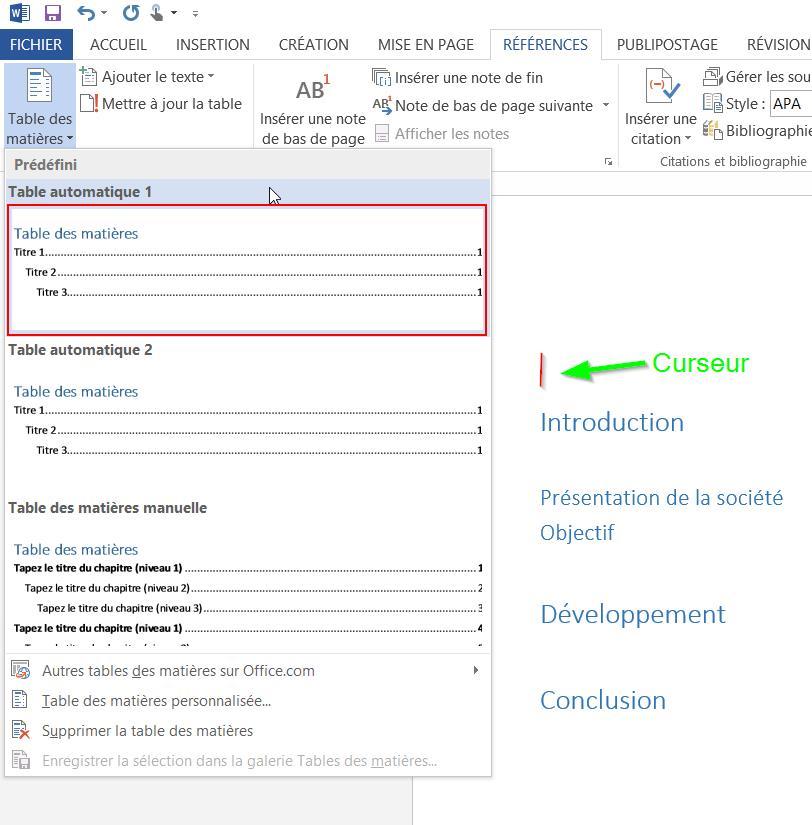 Cr er une table des mati res automatique dans word - Exemple table des matieres ...