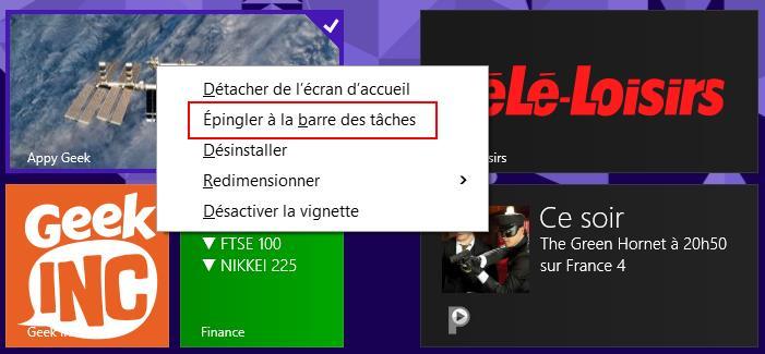 Ajouter une tuile Windows 8 dans la barre des tâches