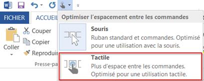 Comment activer mode tactile dans Office 2013