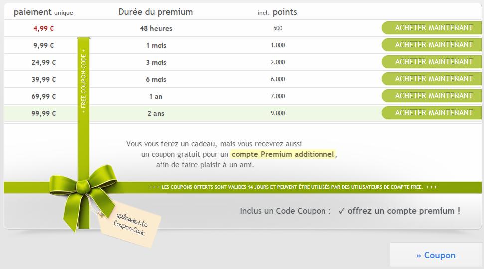 Souscrire un compte Premium sur Uploaded