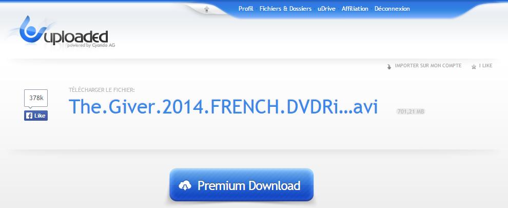Les abonnés Premium sur Uploaded ont directement un lien Premium