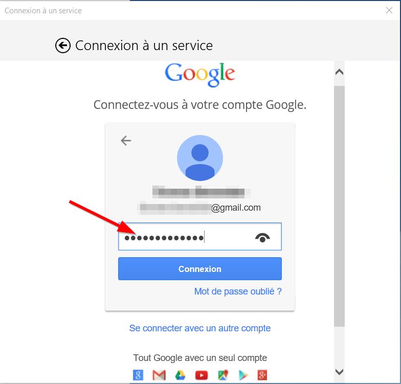 Courrier - Ajouter mot de passe gmail