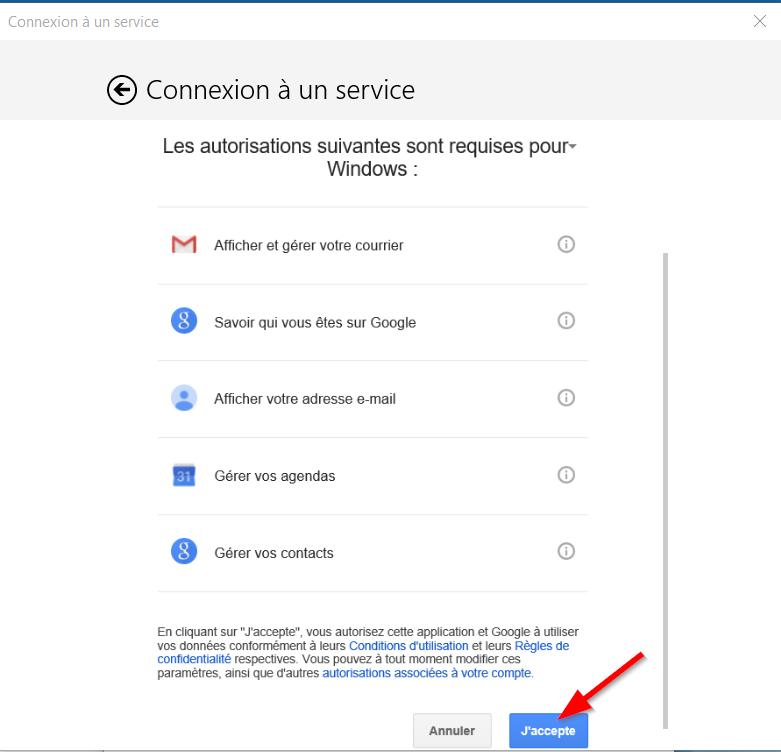 Courrier - Autorisation Gmail