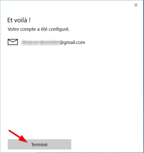 Courrier - Configuration gmail terminée
