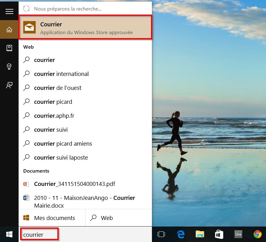 Courrier via Cortana