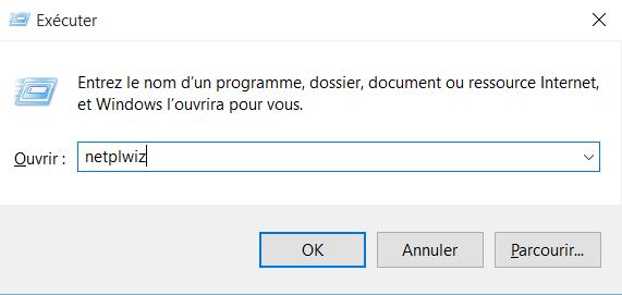 Ouvrir NETPLWIZ depuis l'invite de commande Windows
