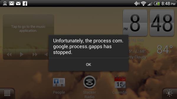 Le processus com.google.process.gapps s'est arrêté