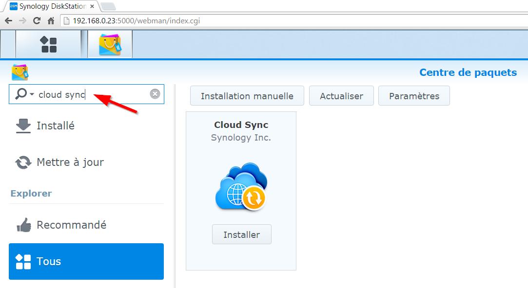 Installation de Cloud Sync sur votre Synology