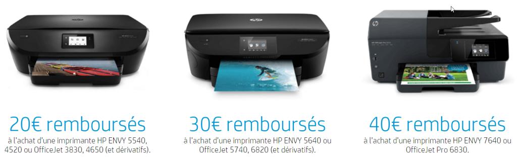Offre de remboursement Imprimantes HP